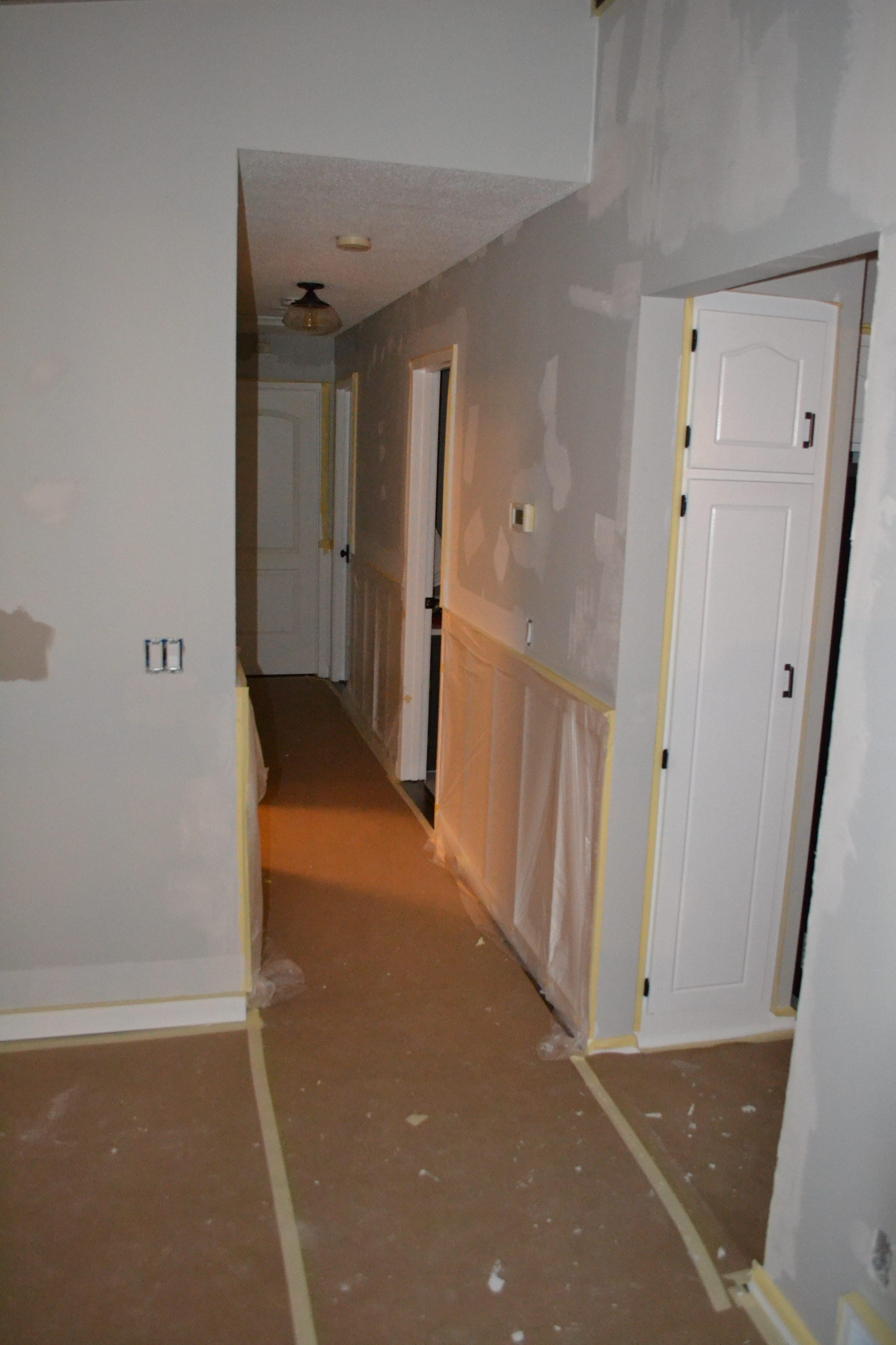 skim coating hallway