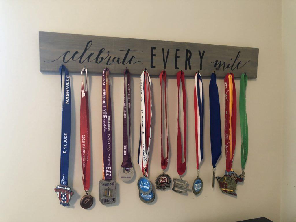 Lighting Basement Washroom Stairs: Celebrate Every Mile Medal Holder