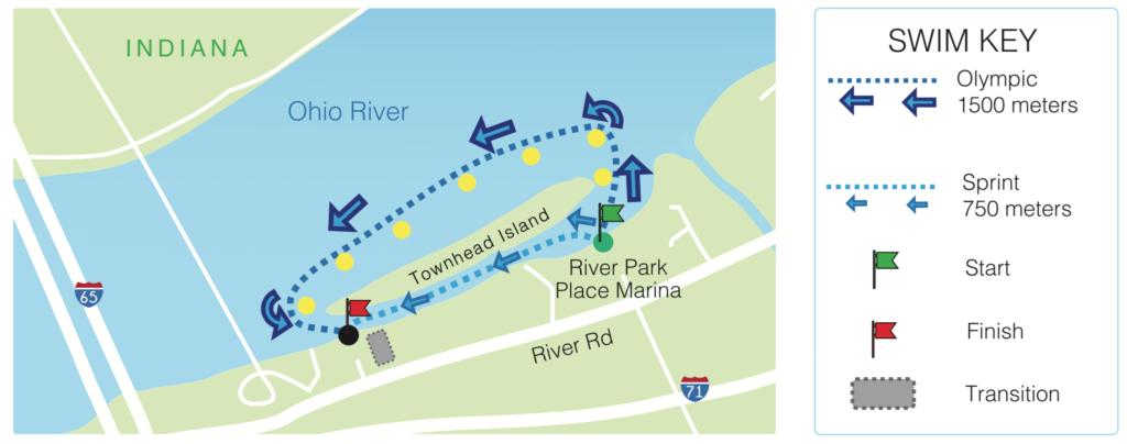 2021 Louisville Sprint Triathlon swim map